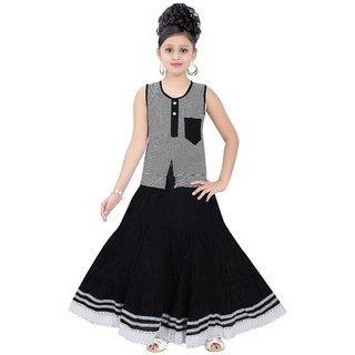 Saarah Black Net Top and Skirt Set for Girls