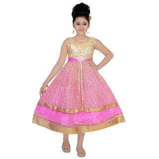 Saarah Pink Net Dress for girls