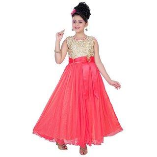 Saarah Pink Net Gown for Girls