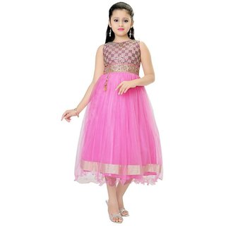 Saarah Pink Net Dress for girls