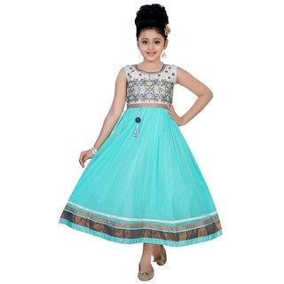 Saarah Blue Net Dresses for girls
