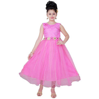 Saarah Pink Net Frock for girls