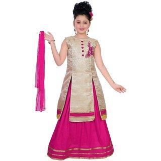 Saarah Pink Polyester Lehenga Choli Set for girls