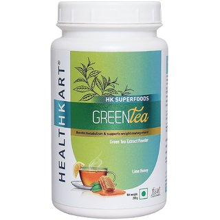 Healthkart Green tea with catechins Polypheols and EGCG Boosts metabolism for weight management 200g Lime honey flavor