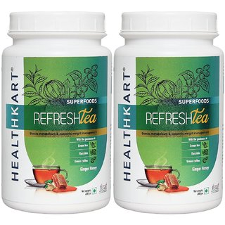 Healthkart Refresh tea with Garcinia Green tea and Green coffee extracts Refreshes and Revitalizes for weight management 200g each ginger honey flavor pack of 2