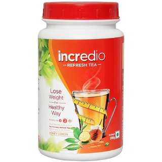 Incredio Refresh tea with Garcinia Green tea and Green coffee extracts Refreshes and Revitalizes for weight management 200g  honely lemon flavor