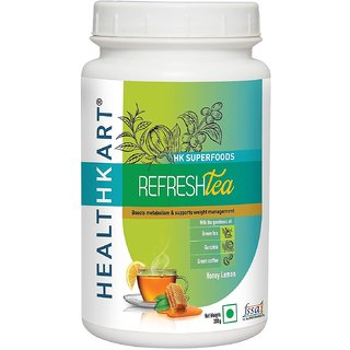Healthkart Refresh tea with Garcinia Green tea and Green coffee extracts Refreshes and Revitalizes for weight management 200g  honey lemon flavor