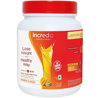 Incredio shake-a-meal-Meal Replacement Shake with 14g Protein, 4.2g Fiber and 27 Vitamins and minerals, saves more than 600 calories and provides satiety, for Weight Management 1kg, Mango flavor