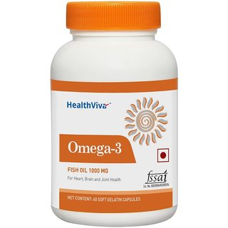 Healthviva Omega 3 Fish oil 1000mg with 180mg EPA and 120mg DHA with essential fatty acids for heart Joint and Brain health 60 softgels