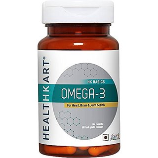 Healthkart Omega 3 Fish oil 1000mg with 180mg EPA and 120mg DHA with essential fatty acids for heart Joint and Brain health 60 softgels