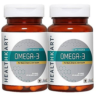 Healthkart Omega 3 Fish oil 1000mg with 180mg EPA and 120mg DHA, with essential fatty acids, for heart, Joint and Brain health, 60 softgels each, pack of 2