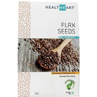 Healthkart Flax seeds 100% Natural Raw Unroasted Flax seeds with Omega 3 6 9 Gluten free 200gm pack
