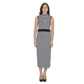 aarmy fit black strip cotton ladies westren dress