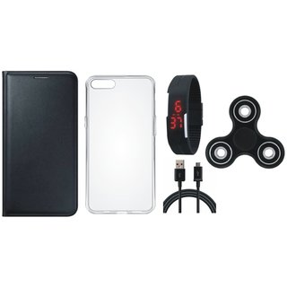 Vivo V9 Leather Flip Cover with Spinner, Silicon Back Cover, Digital Watch and USB Cable