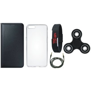 Vivo V9 Leather Flip Cover with Spinner, Silicon Back Cover, Digital Watch and AUX Cable