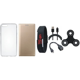 Oppo A71 Cover with Spinner, Silicon Back Cover, Digital Watch, OTG Cable and USB Cable
