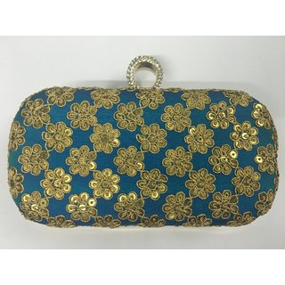 Yamini Nassa Party Wear Blue Silk Sequened Box Clutch