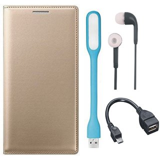 Vivo V9 Leather Flip Cover with Earphones, USB LED Light and OTG Cable