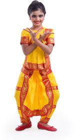 Fancydresswale Bharatnayam Dance Yellow dress Costume For Kids