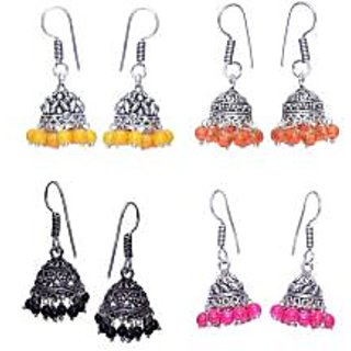 Beautiful German Silver Jhumki (Combo of 4 Pairs)
