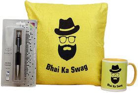 one bhai ka swag cushion one bhai ka swag mug one parker pen