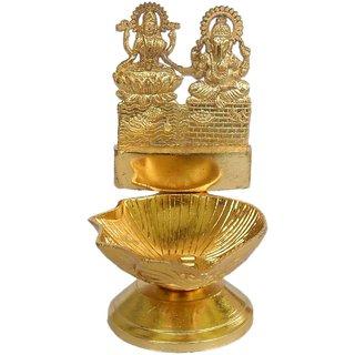 Metal Deepak with Ganesh and Laxmi