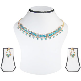 Simbright blue silver Necklace Set