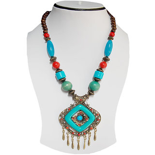 Simbright blue Multicolour Wooden Necklace