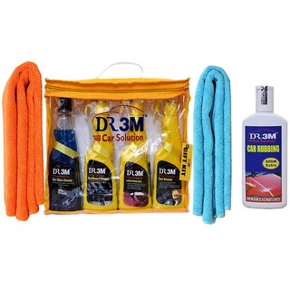CAR GLASS CLEANER  250ml.+TYRE DRESSER 250ML.+DASHBOARD DRESSER 250ML+LEATHER DRESSER 250ML.+CAR RUBBING 200GM+ 2pc.CAR MICROFIBER CLOTH  ORANGE ,SKY BLUE.