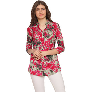 fashionaire beautiful and stylish grey and pink chinese collar printed tunic for women
