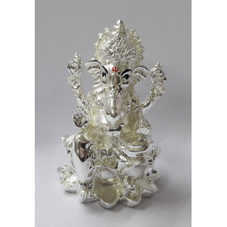 Chintamani Art SILVER PLATED GANESH IDOL  GANESH IDOL  Idols for Home  Idol for Car  Idols for Puja  Idol for Office Desk  Idols for Gifting  House Warming Gift  Gift for Family