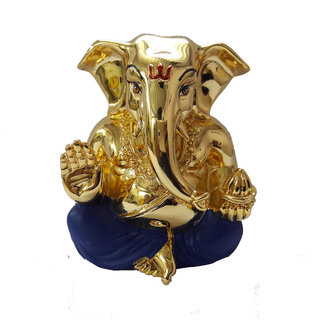 Chintamani Arts Gold Plated GANESH IDOL  Car Dashboard Idol  Very Divin GANESH IDOL  Gold Plated Idol for Home  Idol for car Dashboard  Idols for car