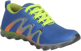 Lee Peeter Men's Blue and Neon Green Sports Shoe