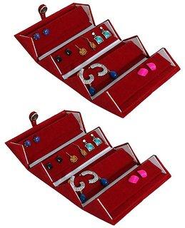 ADWITIYA Set of 2 - Red Velvet Earring Folder Studs Storage Tops Case Travel Friendly Gift Paperboard Jewelery Box