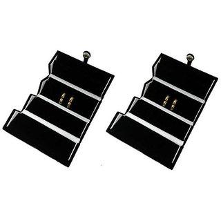 ADWITIYA Set of 2 - Black Velvet Earring Folder Studs Storage Tops Case Travel Friendly Gift Paperboard Jewelery Box