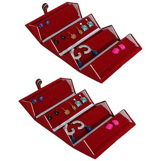 ADWITIYA Set of 2 - Red Velvet Earring Folder Studs Storage Tops Case Travel Friendly Gift Paperboard Jewelery Box