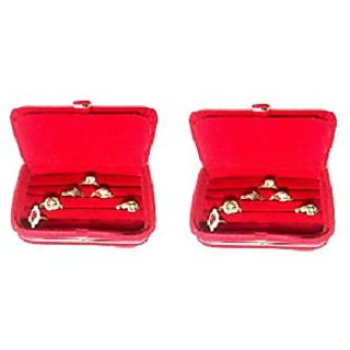 ADWITIYA Set of 2 - Red Velvet Ring Folder Storage Case Travel Friendly Gift Paperboard Jewelery Box