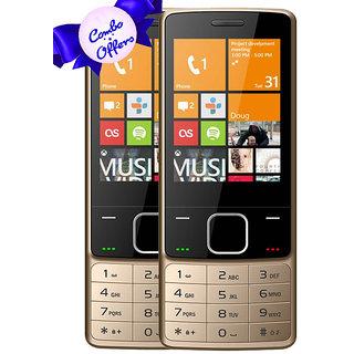 Set of 2 IKALL K6300 Golden Mobile Phone 2.8Inch Dual Sim 1800mAh Battery (No Earphones)