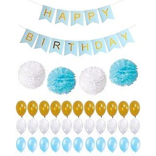 Buy Set Of 56 Pcs Birthday Decorations Kit For Baby Boy One Large