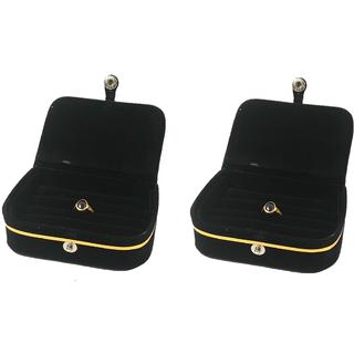 ADWITIYA Set of 2 - Black Velvet Ring Folder Storage Case Travel Friendly Gift Paperboard Jewelery Box