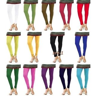 Cotton Lycra Women's Leggings stretchable free size combo (pack 4)
