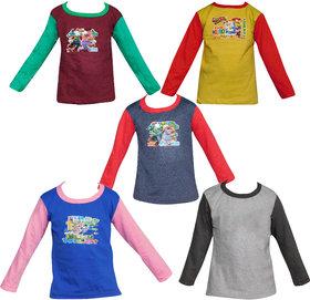 Jisha Fashion Multicolor Full Sleeves Tshirt ( Combo of 5)