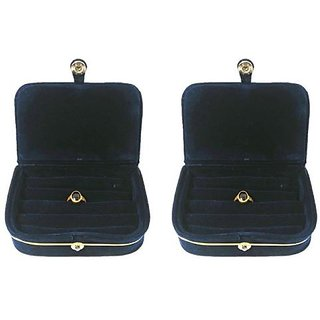 ADWITIYA Set of 2 - Blue Velvet Ring Folder Storage Case Travel Friendly Gift Paperboard Jewelery Box