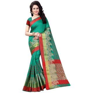 Ozon Designer Fab Women's Green Woven Design Jacquard Saree with Blouse