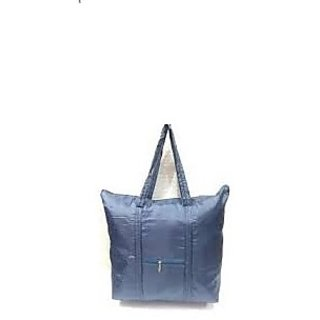 New Fashion foldable green shopping bag Tote Folding pouch handbags Convenient Large capacity storage with Pouch NBlue