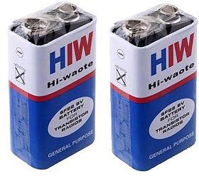 2 Pcs. HI-WATT, 9V, 6F22M, Zinc Carbon, Long Life, General Purpose, Batteries . Green Battery 0 Mercury Cadmium