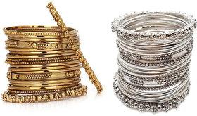 Chrishan High Gold Plated Designer Combo Of Silver And Gold Metal Bangle set.