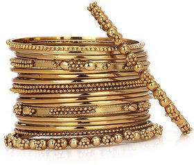 Chrishan High Gold Plated Designer Alloy Gold Metal Bangle set.