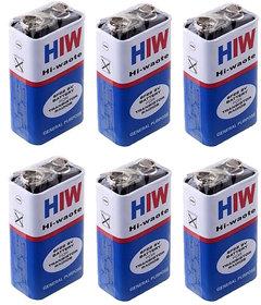 6 Pcs. HI-WATT 9V 6F22M Zinc Carbon Long Life General Purpose Batteries.