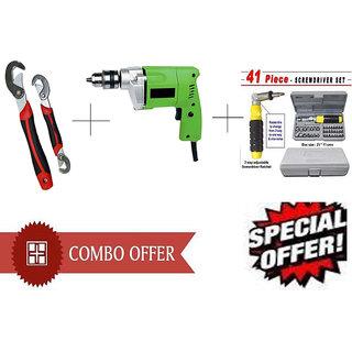 Buy Powerful Drill Machine + 41 Pcs Tool Kit Screwdriver + Snap N Grip Wrench - DRL41SNP